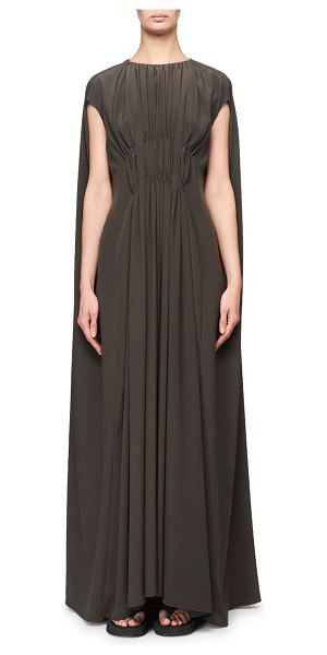 THE ROW Antonia Ruched Compact Crepe Cape Gown in dark green