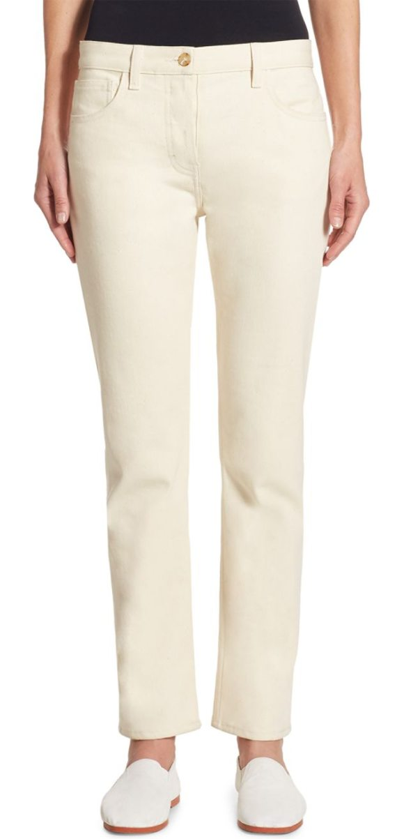 THE ROW ashland straight-leg jeans in natural - Denim cut in a streamlined silhouette. Belt loops. Zip...