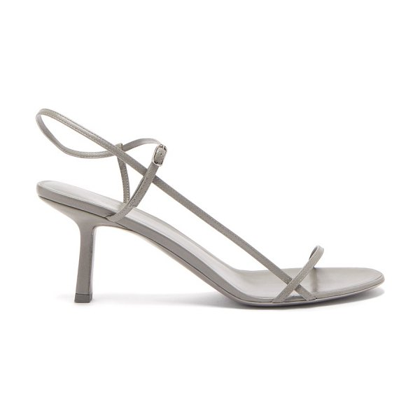 THE ROW bare mid-heel leather sandals in grey