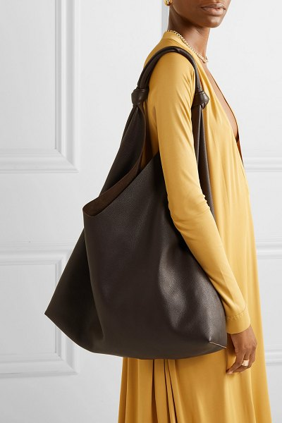 THE ROW bindle textured-leather shoulder bag in dark brown