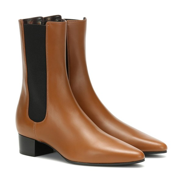 THE ROW british leather ankle boots in brown
