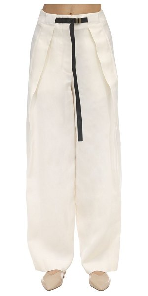 THE ROW Brona silk & linen canvas pants in ivory