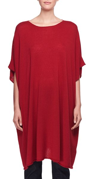 "THE ROW Cafty Cashmere-Silk Poncho in red - The Row ""Cafty"" poncho in cashmere-silk. Crew neckline...."