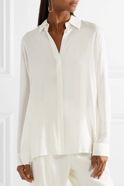 THE ROW carla pleated chiffon blouse in white