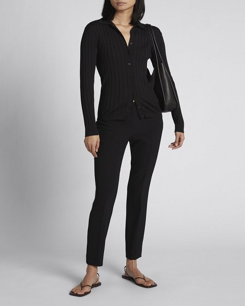 THE ROW Chicco Ribbed Button-Down Top in black
