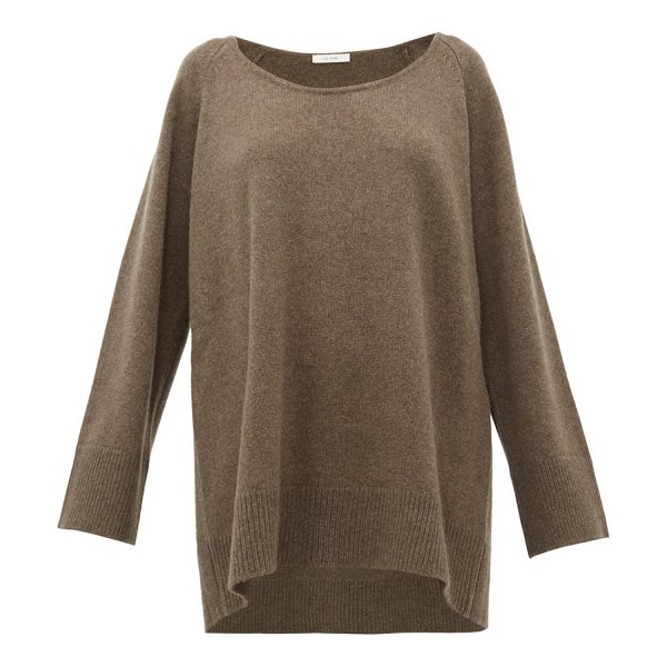 THE ROW damian scoop neck wool blend sweater in light brown