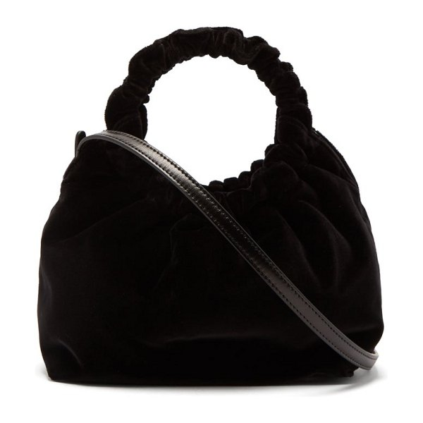 THE ROW double circle small velvet bag in black