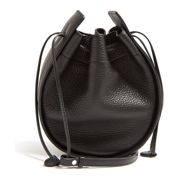 THE ROW drawstring leather cross body bag in black