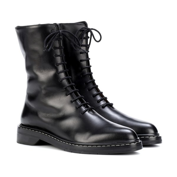 THE ROW fara leather ankle boots in black