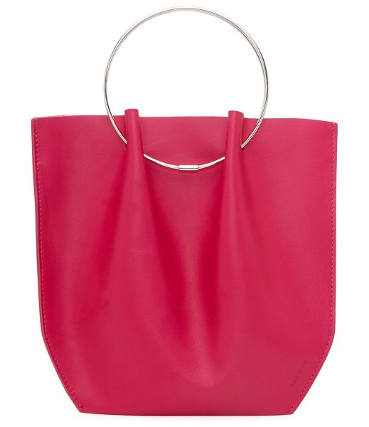 THE ROW Flat Micro Circle Bag in Calf Leather in hot pink