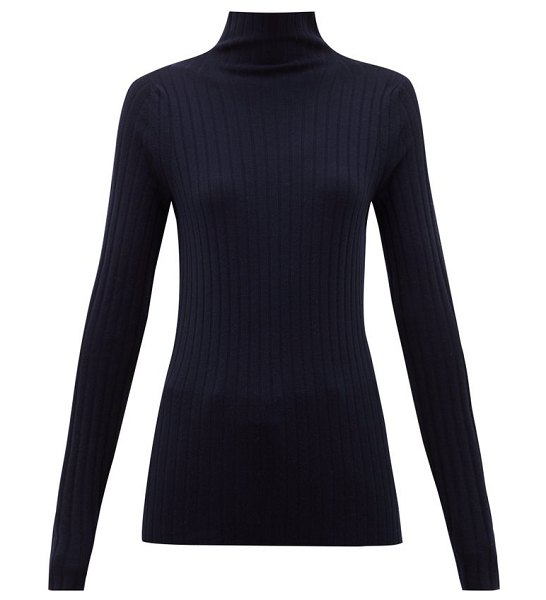THE ROW high-neck ribbed-knit wool-blend sweater in navy