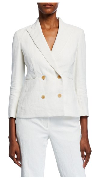 THE ROW Jadu Linen Double-Breasted Blazer in white