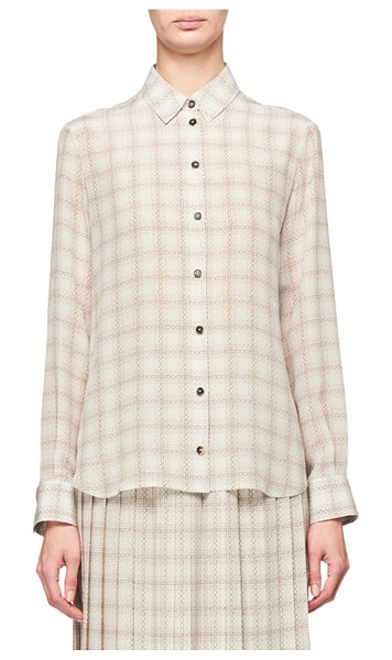 THE ROW Jonas Squiggle Print Button-Front Silk Shirt in beige