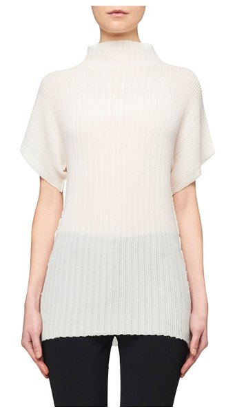 THE ROW Karolina Pleated Mock-Neck Blouse in off white