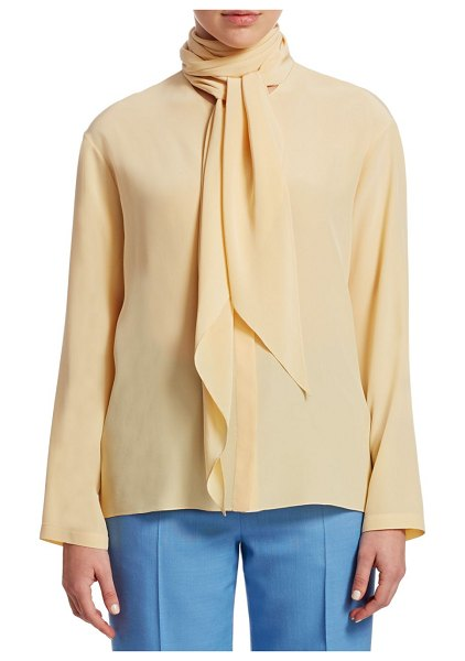 THE ROW Katina Tie Neck Blouse in wheat