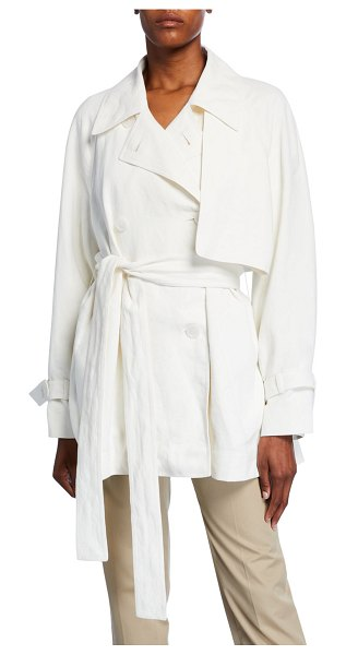 THE ROW Keera Belted Short Trench Jacket in white