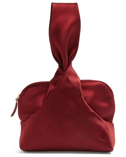 THE ROW Knotted Silk Satin Wristlet Clutch in burgundy - The Row - The Row's jewel-tone burgundy wristlet clutch...