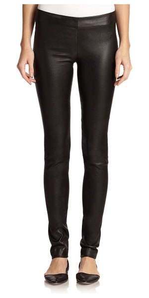 THE ROW essentials leather moto pants in black