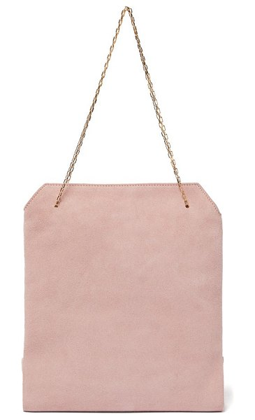 THE ROW lunch bag suede clutch in light pink