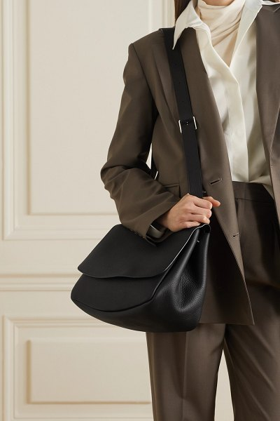 THE ROW mail textured-leather shoulder bag in black