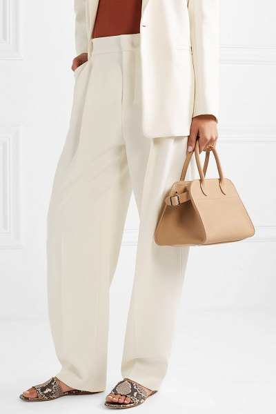 THE ROW margaux 10 buckled textured-leather tote in beige - Neutral accessories are incredibly versatile and...