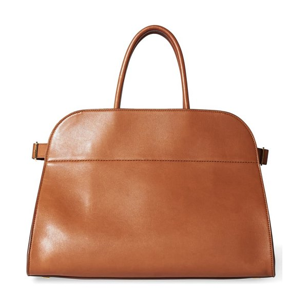 THE ROW margaux 15 leather bag in saddle brown