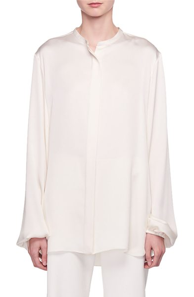 "THE ROW Maura Button-Front Silk Satin Shirt in off white - The Row ""Maura"" silk satin shirt. Hidden button front...."