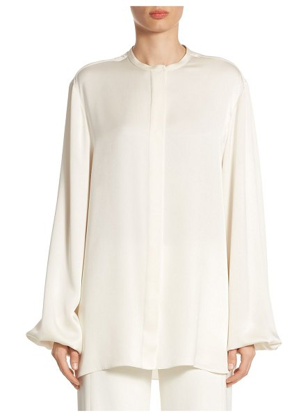 THE ROW maura silk shirt in off white - Lightweight silk shirt with concealed placket and rolled...