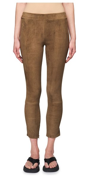 THE ROW Mino Cropped Suede Pants in taupe