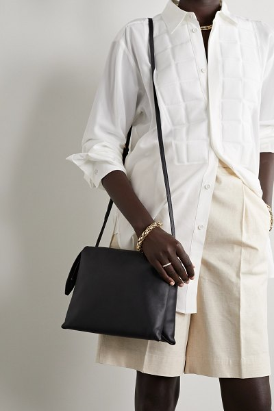 THE ROW nu twin leather shoulder bag in black