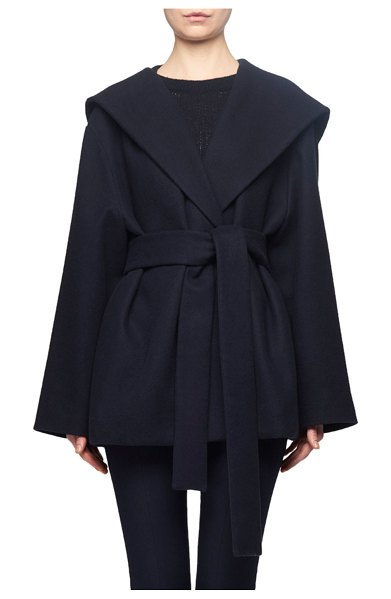 THE ROW Rayna Hooded Wrap Coat in navy