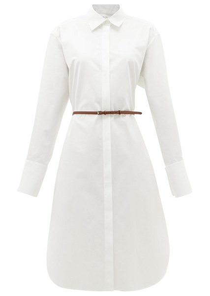 THE ROW sonia belted poplin midi shirtdress in white