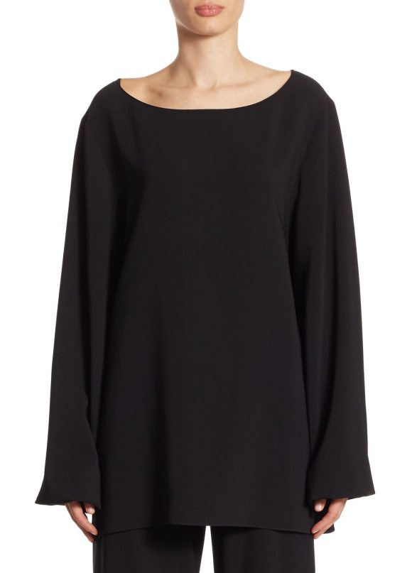 THE ROW sorel silk-blend top in black - Classic long sleeves top. Boatneck. Long sleeves....