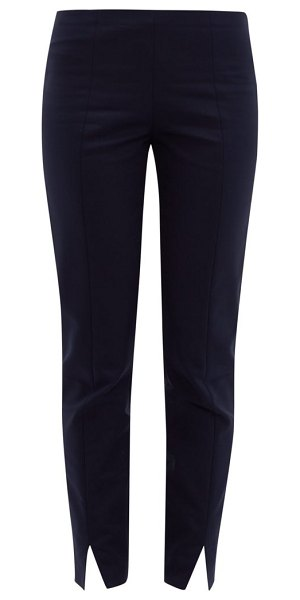 THE ROW sorocco slit-cuff cotton-blend trousers in navy