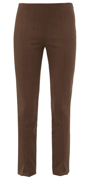 THE ROW sorroco notched cuff virgin wool blend trousers in light brown