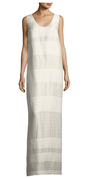 """THE ROW Yellin Sleeveless Textured Stripe Linen-Silk Maxi Dress in light beige - THE ROW """"Yellin"""" textured dress with tonal banded..."""