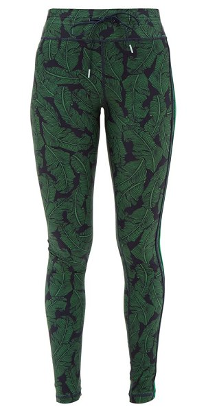 THE UPSIDE palm leaf print performance leggings in green navy
