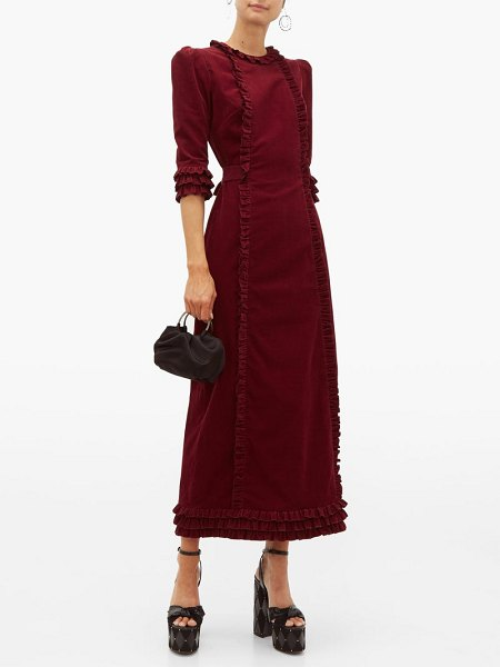 THE VAMPIRE'S WIFE cate ruffle trimmed cotton corduroy midi dress in burgundy