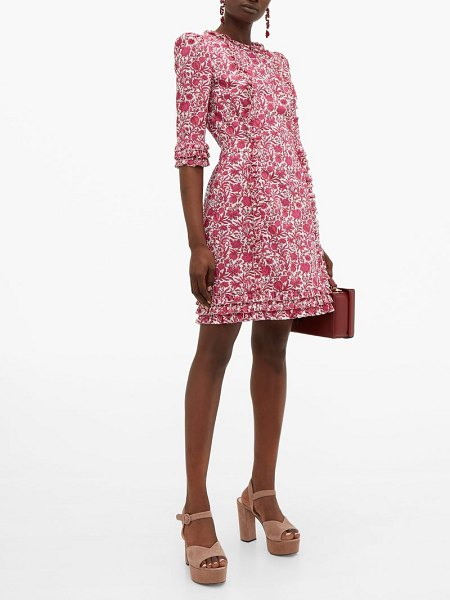 THE VAMPIRE'S WIFE cate ruffle-trimmed floral-print cotton mini dress in pink white