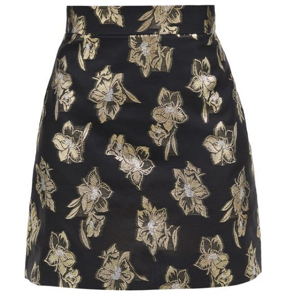 THE VAMPIRE'S WIFE the nearly nuthin' floral-brocade mini skirt in black gold