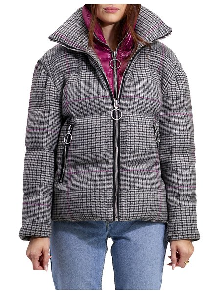"The Very Warm Alma Wool Plaid Puffer Coat w/ Artwork Lining in glen plaid - The Very Warm ""Alma"" down-fill puffer coat in Glen..."