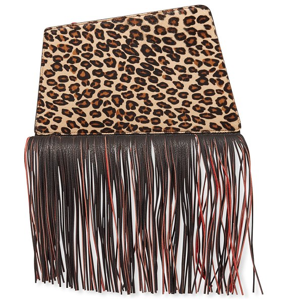 THE VOLON Dia Fringed Clutch Bag in leopard