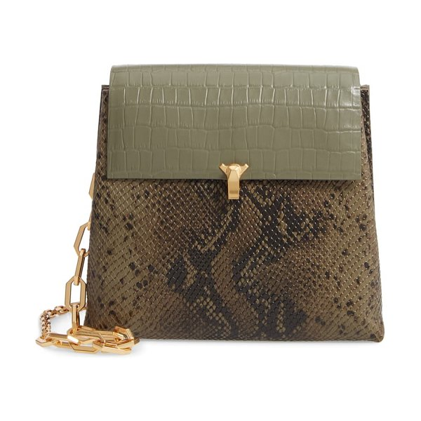 THE VOLON po day embossed leather box bag in khaki