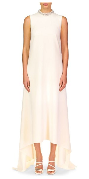 Theia emery high-low maxi shift dress in ivory