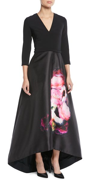 Theia High Low Ball Gown W Flower Skirt In Black Shopstasy