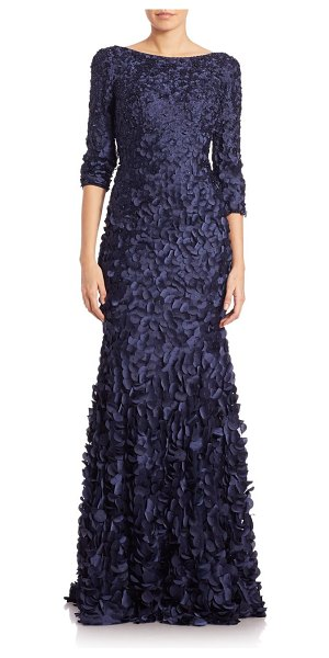 Theia petal boat-neck gown in navy,slate