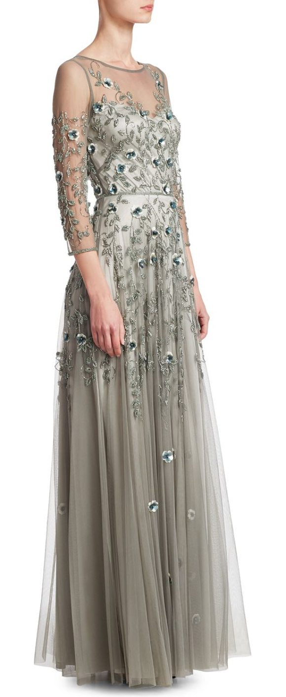 Theia Tulle Embellished Gown | Shopstasy