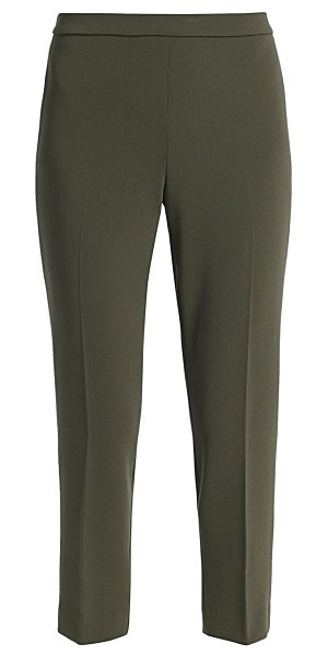 Theory crepe basic pull-on cropped pants in green slate