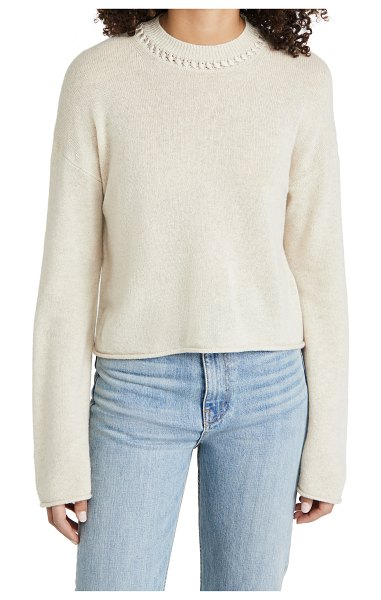 Theory cashmere cropped pullover in ecru melange