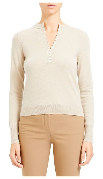 Theory Cashmere Henley Placket in ivory